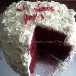 "Raye's Signature 8"" & 10"" Red Velvet Rum Double Heart Cake w/ Cream Cheese Rosettes & Red Candy Writing - inside view"