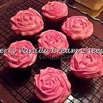 Raye's Signature Cherry Vanilla Cream Cheese Cupcakes w/ Vanilla Cream Cheese Buttercream Pink Rosette Icing